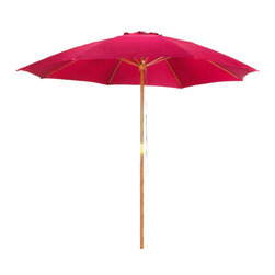 Pier Surplus - 9' Bright Red Patio Umbrella - Outdoor Wooden Market Umbrella #UB58023 - Add a shot of bright red to your backyard with this 9' umbrella. It is a great way to block dangerous UV rays while creating cool shade under which to enjoy the company of friends and family. These patio umbrellas are made from high-quality materials to withstand the summer sun or rains. Easy to clean, this outdoor patio umbrella (aka market umbrella) will turn any afternoon into a breezy affair!