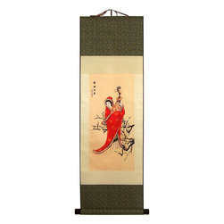 Oriental-Decor - Lady Playing Lute Chinese Print Scroll - A lady decked in ornate red dress and hood plays a classical Chinese musical instrument called the lute. In the background are tree branches and a plain beige color that really makes the woman in red stand out.