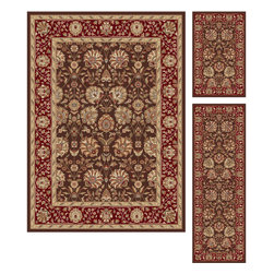 Tayse Rugs - Elegance Brown Area Rug Sets Three Piece Set - - Classic design that can be used with transitional or traditional d�cor. Wider, contrasting border offers a distinct appeal. Timeless hues of brown, red and gold. Made of soft, easy to clean polypropylene. Vacuum and spot clean.  - Square Footage: 47  - Pattern: Floral  - Pile Height: 0.39-Inch  -3 piece rug collection: 5? x 7?, 20 x 60, and 20 x 32 Tayse Rugs - 5338  Brown  3 Pc. Set