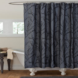 Lush Decor - Lush Decor Flower Texture Gray Shower Curtain - Create a relaxing environment in your bath with this gray shower curtain. Featuring an elegant black floral design,this textured shower curtain will make a beautiful addition to your existing decor. The polyester construction assures durability.