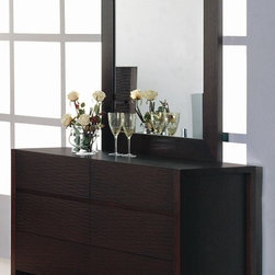 Beverly Hills Furniture - Etch Bedroom Dresser & Mirror Set - Includes dresser and mirror. Constructed of selected hardwoods, oak veneer and MDF. Dresser: 19 in. W x 60 in. L x 30 in. H. Dresser Mirror: 2 in. W x 34 in. L x 32 in. HCrafted from carefully selected hardwood and oak veneers, the Etch Collection represents a unique combination of design and workmanship. Finished with thick boarder wooden frames, a complete unique look for your bedroom for many years to come.
