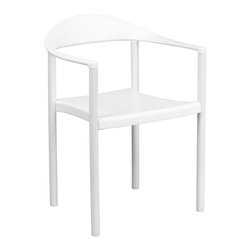 Flash Furniture - Flash Furniture Hercules Plastic Cafe Stack Chair in White - Flash Furniture - Stacking Chairs - RUT418WHGG - The Cafe Chair by Flash Furniture will add value and offer an attractive presence to your Cafe Diner Restaurant Banquet Facility or Home. This chair has a curvaceous back seat and arms that is pleasing to the eye and offered at an affordable price.