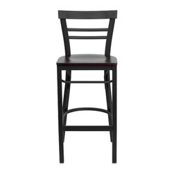 "FlashFurniture - Hercules Series Ladder Back Metal Restaurant Bar Stool - Features: -Heavy duty restaurant bar stool. -Black powder coated frame finish. -Ladder style back. -Black vinyl upholstered seat. -18 Gauge steel frame. -75"" Thick plywood seat. -Foot rest rung. -Two curved support bars. Dimensions: -Seat: 16.75"" W x 16.5"" D. -Back size: 11"" H x 17"" W. -Overall: 41.75"" H x 17"" W x 19"" D, 18 lbs."