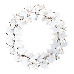 Cardboard Safari - Leaf Wreath, White - Our recycled Wreaths are perfect for decorating your home or business. Our white cardboard is especially easy to paint or decorate using markers, glitter and other craft materials.