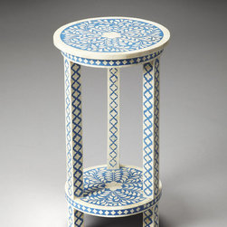 Amanda Blue Bone Inlay Accent Table - This is a great accent table for a collected, well-traveled look.