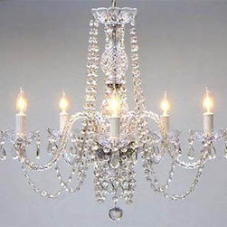 Authentic All-Crystal Chandelier - I could easily see this pretty chandelier hanging above a white table with warm wood chairs for the perfect play on contrast.