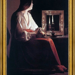 "Georges De La Tour-16""x24"" Framed Canvas - 16"" x 24"" Georges De La Tour The Penitent Magdalen framed premium canvas print reproduced to meet museum quality standards. Our museum quality canvas prints are produced using high-precision print technology for a more accurate reproduction printed on high quality canvas with fade-resistant, archival inks. Our progressive business model allows us to offer works of art to you at the best wholesale pricing, significantly less than art gallery prices, affordable to all. This artwork is hand stretched onto wooden stretcher bars, then mounted into our 3"" wide gold finish frame with black panel by one of our expert framers. Our framed canvas print comes with hardware, ready to hang on your wall.  We present a comprehensive collection of exceptional canvas art reproductions by Georges De La Tour."