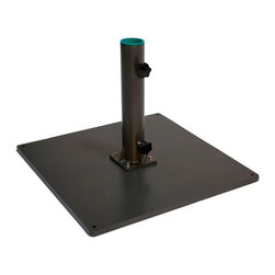Greencorner - 100 lb Low-Profile Steel Umbrella Stand With Wheels, Grey - For use on flat surfaces, this freestanding base features heavy steel construction with an attractive powder-coated grey finish. Offers excellent resistance for heavier umbrellas or areas of high wind. This base is Commercial grade and includes stainless steel hardware to prevent unsightly rust.