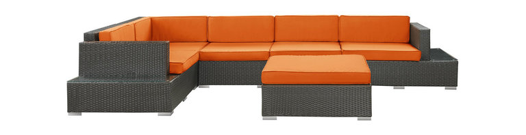 LexMod - Secret Harbour Outdoor Wicker Patio 6 Piece Sectional Sofa Set in Espresso with - Immerse yourself in the depth of new surroundings as you become acquainted with the art of making socially innovative gatherings. Catch the perfect angle for boundless views of reality with this easily reconfigured outdoor set. Expand horizons and open new vistas as hidden opportunities rise to the surface.