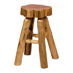 Fireside Lodge Furniture - Cedar Slab Stool w Clear Lacquer Finish (30 i - Choose Seat Height: 30 in. BarCedar Collection. Northern White Cedar logs are hand peeled to accentuate their natural character and beauty. Clear coat catalyzed lacquer finish for extra durability. 2-Year limited warranty. Counter: 19 in. Dia. x 24 in. H (20 lbs.). Bar: 19 in. Dia. x 30 in. H (25 lbs.)