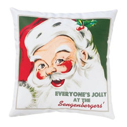 "Exposures - Retro Santa Personalized Pillow - Overview Add a jolly accent to a chair or bench with this retro Santa holiday pillow, custom designed exclusively for Exposures. ""Everyone's jolly"" is followed by your family name (up to 15 characters) and printed on durable white linen fabric. Personalized pillow measures 14"" x 14""."