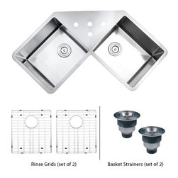 "TCS Home Supplies - 43 Inch Undermount Butterly Corner Double Bowl Kitchen Sink and Accessories - Gravena Premium 16 Gauge Kitchen Sink. Undermount Installation. 15mm Radius Design. Butterly Corner Double Bowl. Brushed Finish. Included Matching Grid Set & Two Deluxe Lift-out Basket Strainer. Dimensions 44"" x 23"" x 10"""