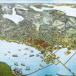 """Seattle, WA  Birds-eye View - 1891 Wall Map Mural - Peel and Stick 3-Panel, 125"""" - This birds-eye view of Seattle Washington provides a historic look at the way the city appeared in 1891.  The gorgeous panoramic map looks east at Elliot Bay and downtown Seattle with a  view stretching as far as Lake Washington and greater King County. Colorful  illustrations of buildings, lakes, streets, railways and boat traffic in the  Puget Sound are shown in clear detail on this map drawn by Augustus Koch and  published by the Hughes Litho Co. in 1891. The map was drawn just 18 months  after the Great Seattle Fire that destroyed the entire central business district  on June 6th 1889."""