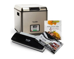 "Sous Vide Supreme - Sous Vide Supreme Water Oven, Vacuum Sealer, Bags & Book Pack - Combo pack includes: - SousVide Supreme Water Oven, 12 qt. model SVK-00001- SousVide Supreme Vacuum Sealer model SVV-00200 (includes 10 vacuum seal Pouches)- SousVide Supreme Vacuum Pouches, one box of quart size and one box of gallon size- Easy SousVide Cookbook, Soft Cover, 64 pagesSousVide Supreme makes it easy to prepare gourmet meals in under 30 minutes hands-on time, all with incredible flavors and nutritional benefits.Precise temperature control to 1 degree Fahrenheit (0.5 degrees Celsius) Easy to use, few steps, time-saving meal preparationUnit can set it and walk away, includes timerVirtually impossible to overcook a meal, keeps the original flavor of foodsAdded nutritional value. Natural juices and nutrients are retained while cooking in the vacuum seal bagTenderizes inexpensive cutsEasy clean-up, pots and pans are not requiredEnergy-efficient and silent operation, uses energy equivalent to a 60 watt light-bulbSpecifications:One-touch precision control panel controlled by a digital LED displayTemperature range:  86""F to 210""F (30"" to 99""C)Perforated bottom grill designed to generate thermal turbulence  Includes universal Pouchesch rack to separate food Pouches and keep food Pouches submergedUser Manual with cooking temperature charts and recipes Capacity: 2.96 gallon (11.2 liter) water capacity Cooking capacity: Able to handle 20 four-ounce portions of food per runNon-stick coated cavityAluminum lidDetachable power cordPower: 120Vac 60Hz, 550WDimensions: 11.4"" tall x 11.4"" W x 14.2"" LWeight: 13 Pouchesnds"