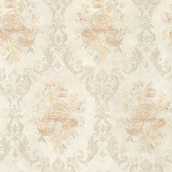 Mirage - Dutchess Peach Floral Damask Wallpaper - Give your decor a backdrop of formal finery. The soft hues and elegant motif belie the fact that this vinyl wallpaper stands up to a scrubbing — what a great way to posh up a powder room!