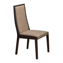 Jofran - Jofran Midtown Espresso Casual Dining Side Chair w/ Beige Upholstery (Set of 2) - This casual side chair is a great complement for all kinds of decor styles. This simply designed side chair has a gently curved back, block legs, and upholstered back and seat. The upholstery adds to the chair's comfort as well as its durability and resilience. Rich Midtown Espresso wood finish is complemented with beige colored upholstery. What's included: Side Chair (1).