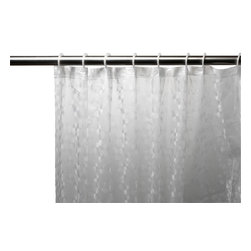 Super Clear Embossed PEVA Shower Curtain with Built-in Hooks - Embossed 5 Gauge Peva Shower Curtain with Built in Shower Curtain Hooks in Clear?mold & mildew resistant and Chlorine & Odor Free. Our Embossed PEVA Shower Curtain with Built in Hooks is a fun, clean addition to any bathroom--dorm bathrooms especially. Made of durable, heavy weight (5 gauge) PEVA material, this curtain lacks both PVC and the Chlorine that tends to give vinyl curtains an unseemly chemical smell. PEVA is inherently resistant to mildew and mold, and wipes clean easily.  And speaking of easy, this curtain's built in hooks make installing or removing completely pain free. Here in Super Clear, this style curtain is available in a variety of fashionable colors and patterns.    Wipe clean with damp sponge with warm soapy cleaning solution