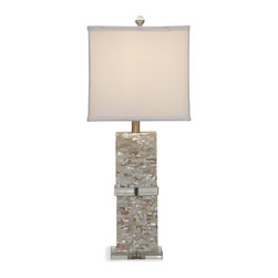 Bassett Mirror - Bassett Mirror Bridget Table Lamp - Achieve an ocean-inspired look with the Bridget Table Lamp. Featuring Mother of Pearl in a brick layout, lucite accents and a smooth white drum shade with thick edging, this lamp is both sophisticated and relaxed. Its rectangular shape and shimmering Mother of Pearl make it the perfect complement to beach style decor. Requires 60 watts or less, bulbs not included.