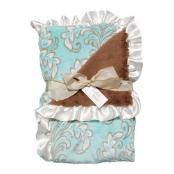 Belle & June - Lux Ruffle Baby Blanket, Aqua and Chocolate - The perfect gift for the newest little one in your life, this extremely soft, damask blanket is sure to be their favorite blanket. With luxuriously soft front and back, and satin blanket ruffle trim, this baby blanket is soft and snuggly.