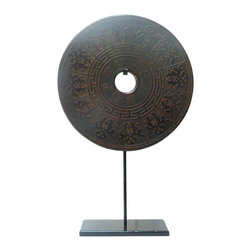 Golden Lotus - Chinese Round Stone Disc Fengshui Display Decor Hcs580-5 - This is a stone carved round shape decoration display on a metal stand. Round symbolizes complete, smooth and harmony. Stone is one of the five element - earth.