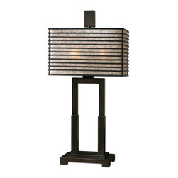 Uttermost - Becton Modern Metal Table Lamp - You'll be transported to Japan when you switch on this table lamp. Its rectangular shade, highlighted with a rubbed-bronze finish and illuminated by a champagne mica liner, is understated yet quietly bold. Its linear metal base is finished in matching oil-rubbed bronze. Use two lightbulbs for maximum reading illumination.