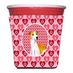 Caroline's Treasures - Whippet Valentine's Love and Hearts Red Solo Cup Hugger - Fits red solo cup or large Dunkin Donuts / Starbucks ice coffee cup. Collapsible Foam. (16 oz. to 22 oz. Red solo cup) Toby Keith made the cups more popular with his song. We make them nicer to carry around. The top of the cup is still exposed to add your name with a marker too. Permanently dyed and fade resistant design. Great to keep track of your beverage and add a bit of flair to a gathering. Match with one of the insulated coolers or coasters for a nice gift pack. Wash the hugger in your dishwasher or clothes washer. Design will not come off.