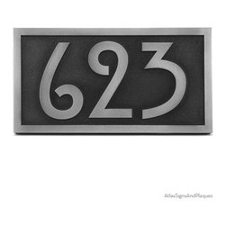 """Stickley Numbers ONLY! 13"""" x 7"""" in Pewter Finish - Numbers Only! Our very popular Stickley plaque reduced to just the numbers. Big, bold, and easy to read. The Rennie Mackintosh font makes this a super fit for Arts & Crafts or Shaker styles."""