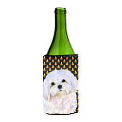 Caroline's Treasures - Maltese Candy Corn Halloween Portrait Wine Bottle Koozie Hugger SS4275LITERK - Maltese Candy Corn Halloween Portrait Wine Bottle Koozie Hugger SS4275LITERK Fits 750 ml. wine or other beverage bottles. Fits 24 oz. cans or pint bottles. Great collapsible koozie for large cans of beer, Energy Drinks or large Iced Tea beverages. Great to keep track of your beverage and add a bit of flair to a gathering. Wash the hugger in your washing machine. Design will not come off.
