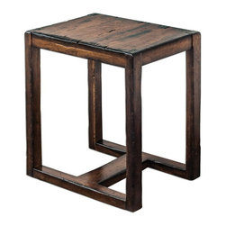 Uttermost - Uttermost 25604  Deni Wooden End Table - Light honey stain on solid mango wood, burnished with darkened edges and heavy distressing.
