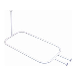 Zenith - Hoop Shower Rod in White - 34941 - Manufacturer SKU: 34941. Supports hanging shower liner. Fits areas up to 66 in. Long x 28 in. Wide. Designed specifically for free standing tubs. Chip & rust-resistant. Tubes can be cut for a custom fit. Material: 100 % Painted Steel. White finishThis rod was specifically designed for free standing tubs. The hoop design allows a curtain to encircle the whole tub. Includes mounting hardware and can be cut for a custom fit.