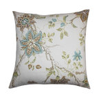 """The Pillow Collection - Ululani Floral Pillow Brown Blue 18"""" x 18"""" - This throw pillow exudes a down-to-earth elegance with its cheery floral pattern. Packed with a colorful floral pattern, this square pillow features shades of green, brown, blue and white. This lighthearted accent pillow suits both contemporary and modern decor styles. Combine this 100% cotton-made pillow with other textures. Hidden zipper closure for easy cover removal.  Knife edge finish on all four sides.  Reversible pillow with the same fabric on the back side.  Spot cleaning suggested."""