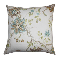 The Pillow Collection - Ululani Floral Pillow Brown Blue - This throw pillow exudes a down-to-earth elegance with its cheery floral pattern. Packed with a colorful floral pattern, this square pillow features shades of green, brown, blue and white. This lighthearted accent pillow suits both contemporary and modern decor styles. Combine this 100% cotton-made pillow with other textures. Hidden zipper closure for easy cover removal.  Knife edge finish on all four sides.  Reversible pillow with the same fabric on the back side.  Spot cleaning suggested.