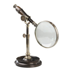 Authentic Models - Magnifying Glass With Stand, Bronzed - Duotone bronzed brass and classic wood. Heavyweight stand allows free use of hands. A classic gift for every executive.
