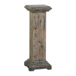 Uttermost - Uttermost Alejo Aged Wood Pedestal 24352 - With hints of Prussian blue paint on smooth, faded gray, weathered fir, this solid wooden pedestal makes a sturdy and attractive place for a statement piece.