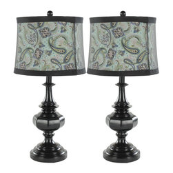 Safavieh - Carole Lamp - The Carole Urn Lamp in glossy black hue brings a fresh, stylish look to any traditional room in need of an update. Topped with black finial and black-trimmed blue paisley shade, it transforms a neutral interior into a stylish oasis. (Sold in a set of 2)