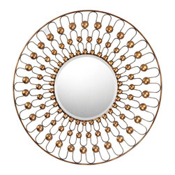 "Sterling Industries - Metal Framed Mirror Gold with Bronze Antique Finish - 36"" in diameter the frame is formed from wire and metal cups painted in dark gold finish with bronze accenting. The mirror is beveled and 15"" diameter."