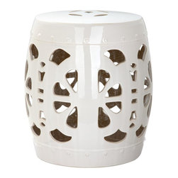 Safavieh - Antibes Garden Stool - Global influences abound in the aqua glazed ceramic Marseille garden stool. Classic Chinese vessel nailheads and lucky coin top motif contrast Roman lion head sculptures and a pierced medallion. Use this elegant piece as a garden perch or indoor side table.