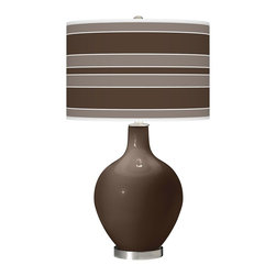 """Color Plus - Contemporary Carafe Bold Stripe Ovo Table Lamp - Welcome exquisite color and design to your home decor with this Color + Plus™ glass table lamp. The design is hand-crafted by experienced artisans in our California workshops with a Carafe brown designer high-gloss finish. It is topped with a stylish custom made-to-order translucent drum shade that features a Bold Stripe pattern in rich color tones that complement the base hue. Brushed steel finish accents balance the look in contemporary style. U. S. Patent # 7347593. Carafe brown designer glass table lamp. Bold Stripe pattern giclee-printed shade. Custom made-to-order translucent drum shade. Brushed steel finish accents. Takes one maximum 150 watt or equivalent bulb (not included). 28 1/2"""" high. Shade is 15 1/2"""" wide 11"""" high. Base is 6"""" wide.   Carafe brown designer glass table lamp.  Bold Stripe pattern giclee-printed shade.  Custom made-to-order translucent drum shade.  Brushed steel finish accents.  Takes one maximum 150 watt or equivalent bulb (not included).  28 1/2"""" high.   Shade is 15 1/2"""" wide 11"""" high.   Base is 6"""" wide."""