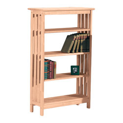 None - Unfinished Parawood Four-tier Mission Style Shelf Unit - With four adjustable shelves,this mission style case is excellent for storing your books,magazines and decor accessories. The solid rubberwood construction is unfinished for easy customization.