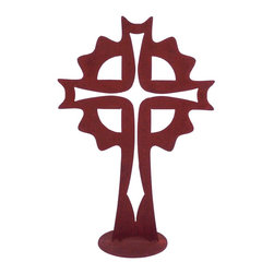 Z Garden Party, Inc. - Sun Cross Garden Art Sculpture - The Sun Cross Garden Art Sculpture will add beauty to any home or garden. It is hand made in the USA from heavy rusted steel. This pattern features a cross within a cross. It is designed by California Susan Regert.