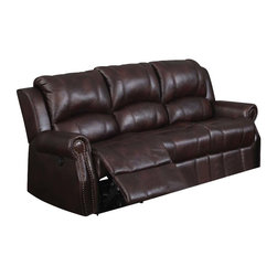 ACME - Acme Josef Sofa with Motion in Brown - The Josef durable and comfortable polished microfiber motion set features padded arms, padded seats and nailhead. The sofa, loveseat, and recliner will bring back the sleek style to your living room environment.