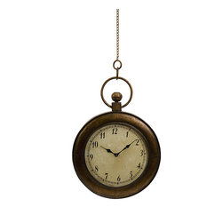 None - Regent Pocket Watch-style Wall Clock - This stunning Regent wall clock is formed in the shape of a pocket watch, complete with a short chain to hang from. The wall hanging showcases a textured off-white clock face with black Roman numerals.