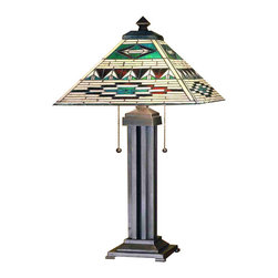 "Meyda - 24""H Valencia Mission Table Lamp - Patterns and colors of native american blankets andpottery have given inspiration to this meyda tiffanydesigned mission style stained glass shade. Theintricately patterned shade of bark brown granite glasswith sand beige and turquoise is combined with a cleanlined mission style table lamp base that has an earthtoned mahogany bronze hand applied finish. Bulb type: med bulb quantity: 2 bulb wattage: 60"