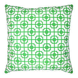 """NECTARmodern - Lattice (kelly) fretwork chinoserie embroidered throw pillow 20"""" x 20"""" - An elegant lattice design in a kelly green adds playfulness and a shot of color to any room. White linen front with green embroidery. Solid white linen back. Designer quality cover with overstuffed feather/down insert."""