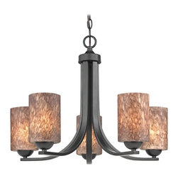 Design Classics Lighting - Modern Chandelier with Brown Art Glass in Matte Black Finish - 584-07 GL1016C - Contemporary / modern matte black 5-light chandelier. Takes (5) 100-watt incandescent A19 bulb(s). Bulb(s) sold separately. UL listed. Dry location rated.