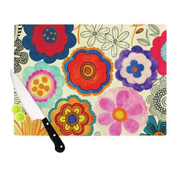 "Kess InHouse - Louise Machado ""Charming Floral"" Floral Multicolor Cutting Board (11"" x 7.5"") - These sturdy tempered glass cutting boards will make everything you chop look like a Dutch painting. Perfect the art of cooking with your KESS InHouse unique art cutting board. Go for patterns or painted, either way this non-skid, dishwasher safe cutting board is perfect for preparing any artistic dinner or serving. Cut, chop, serve or frame, all of these unique cutting boards are gorgeous."