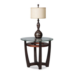 Bassett Mirror Company - Bassett Mirror T1078-220/076 Elation Round Glass Top End Table - Round Glass Top End Table in Cappucino Finish belongs to Elation Collection by Bassett Mirror Company Bassett Mirror is fluent in this art, showing a terrific contemporary furniture that will satisfy on the one hand fans of home coziness, and on the other hand - seekers of non-standard design solutions also. One of the many strengths of the Bassett Mirror is using high quality materials for perfect embodiment of brilliant design ideas.  End Table (1)