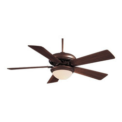 Minka Aire Fans - 52-Inch Ceiling Fan with Five Blades and Light Kit - F569-ORB - This ceiling fan combines superb performance with classic style. The oil rubbed bronze finish and medium maple blades exude subtle sophistication. It is packaged with a light kit that includes a mini-can halogen bulb. With 52-inch blades, it is the ideal size for any large room. Includes 3-1/2 and 6-inch downrods with an integrated sloped ceiling adapter and a hand held remote control. Takes (1) 100-watt halogen T4 bulb(s). Bulb(s) sold separately. Dry location rated.