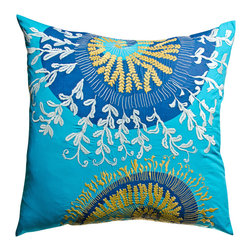 """KOKO - Water Eurosham, Blue/Mustard, 26"""" x 26"""" - This refreshing combination of ocean blues and sunshiny yellows is enough to brighten any room. The whimsical embroidered design adds the perfect layer of texture and makes this pillow a true statement piece to design around."""