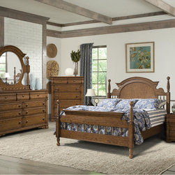Vaughan Furniture Company - Vaughan Hunter's Ridge 4-piece Poster Bedroom Set - Outfit your master suit or guest bedroom with this rustic oak-finished 4-piece bedroom set. Deep highlights and burnished edges distinguish this bedroom set,boasting beautiful period hardware and ornate shaping for a timeless rustic country look.